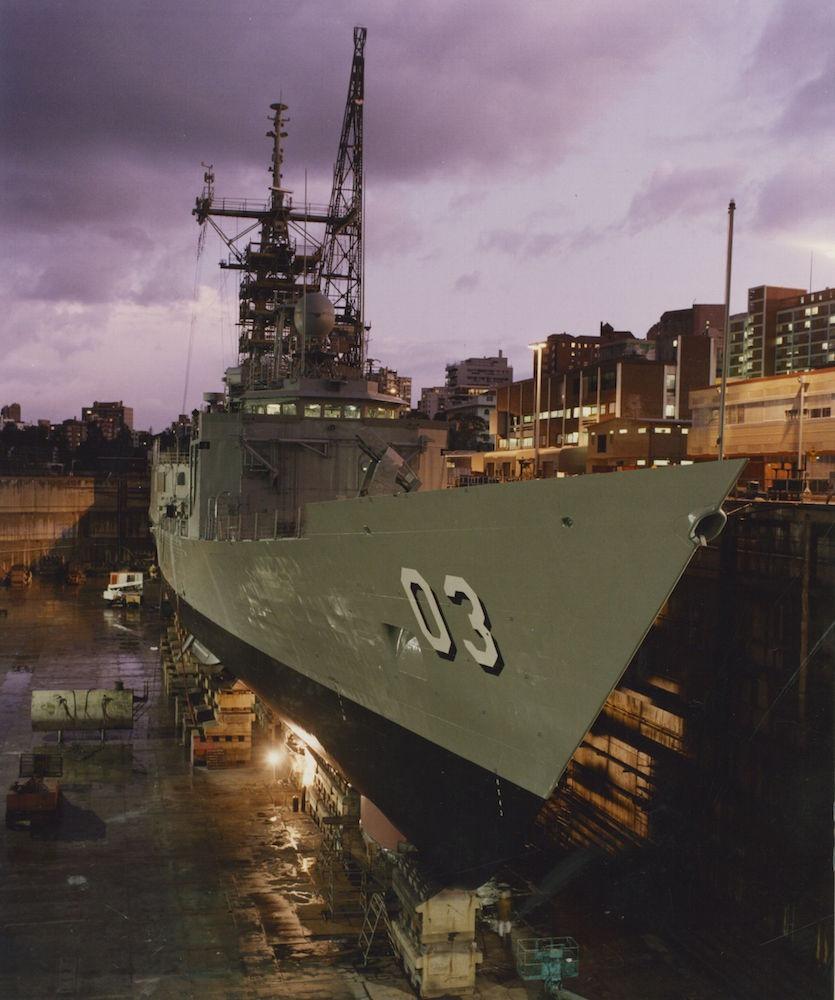 Sydney in dry dock undergoing refit.