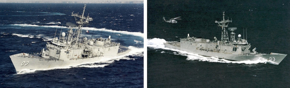 Left: Sydney prepares to conduct helicopter operations. Right: A helicopter approaches Sydney in preparation for landing on deck.