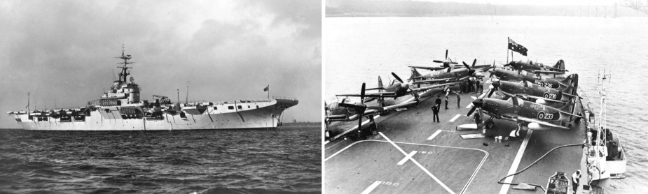 Left: Sydney at anchor prior to embarking her air group. Right: Royal Navy Mk IV Fireflies were used to work-up 816 Squadron prior to Sydney's return voyage to Australia.