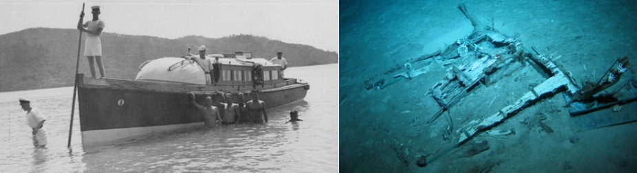 Left: Sydney's cutter coming ashore in Queensland waters. Right: The remains of the midship's cabin deck-head found in the debris field. Identifying features include brass hand-rails and the small spotlight visible in the picture at left