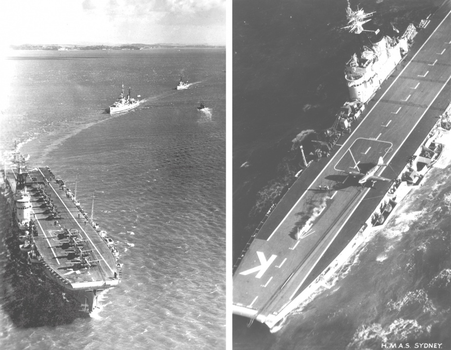 Left: Sydney leads RNZN and RAN units into Auckland 15 March 1950. Right: A Firefly ranged on Sydney's flight deck