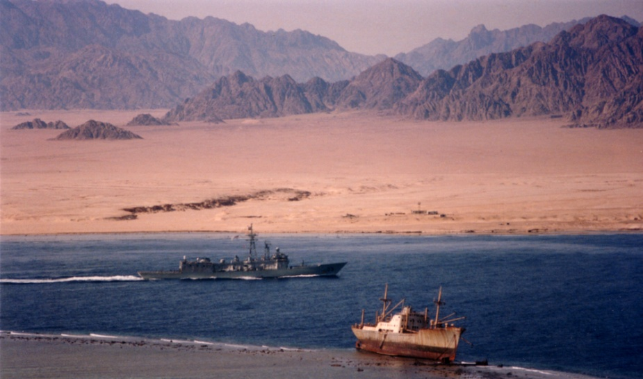 Sydney transiting the Strait of Tiran at the mouth of the Gulf of Aqaba.