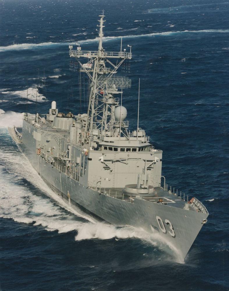 HMAS Sydney at speed.