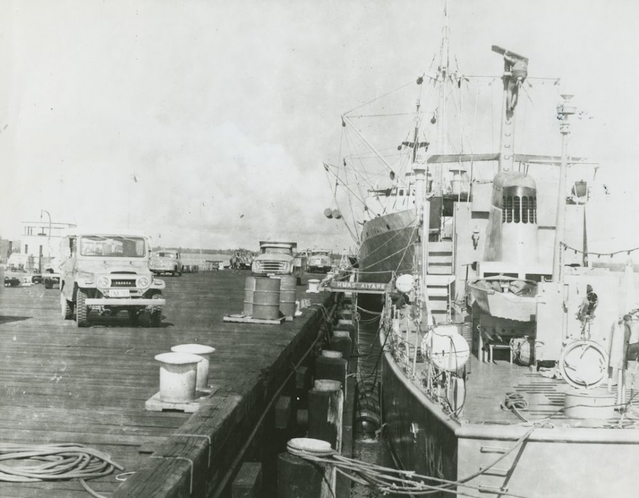 HMAS Aitape alongside the wharf at HMAS Tarangau circa February 1970.