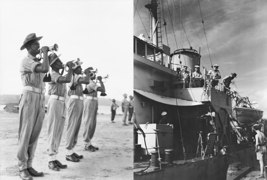 Left: Members of the Torres Strait Light Infantry Battalion at Thursday Island. (AWM 119195) Right: HMAS Rockhampton berthing at Thursday Island. (AWM 119164)