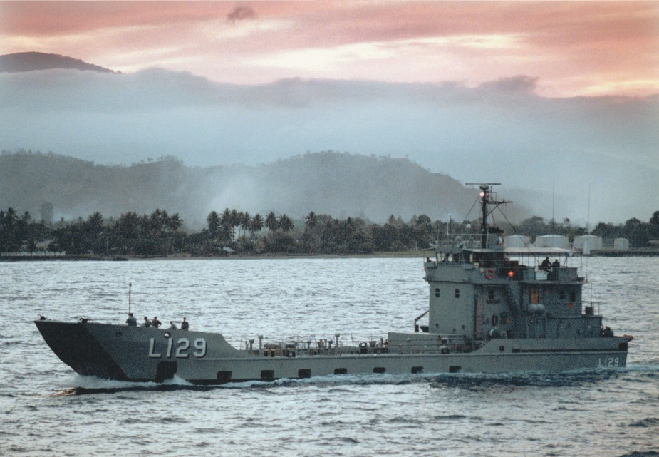 HMAS Tarakan at dusk off the East Timorese coast