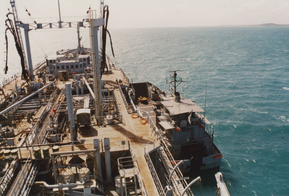 Fuelling alongside Westralia in Melville Bay, Gove, March 1992
