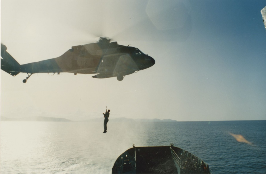 Tarakan conducting Sea Qualification Trials with a Blackhawk helicopter off Mourilyan, June 1992