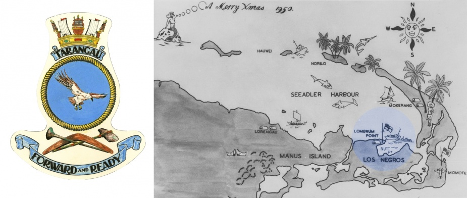 Left: HMAS Tarangau's badge. Right: An overview of Manus and Los Negros Islands captured on a 1950s Christmas card.