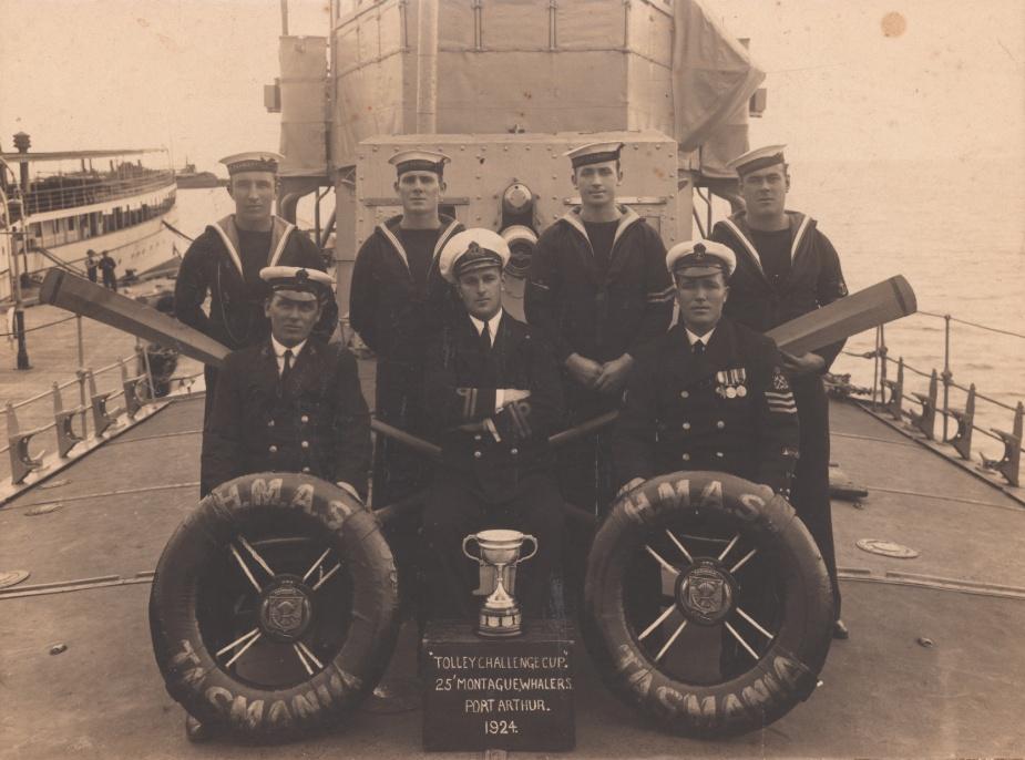 HMAS Tasmania's whaler boat crew in Port Arthur 1924