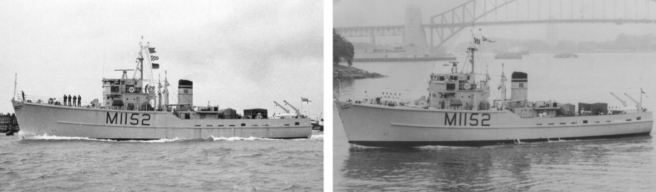 Left: HMAS Teal was commissioned on 30 August 1962, before departing the United Kingdom for Australia. Right: HMAS Teal arrived in Sydney on 7 December 1962.