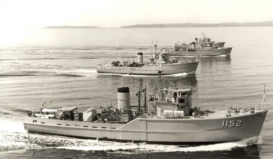 HMAS Teal (foreground) in company with her sister ships, HMA Ships Snipe, Curlew and Hawk.