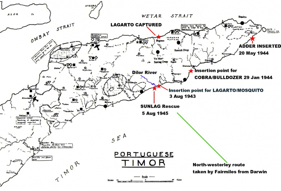 Timor operations map indicating where the various operations took place