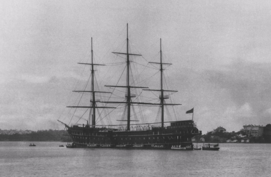 Sobraon moored with her sails removed as the Nautical School Ship NSS Sabraon