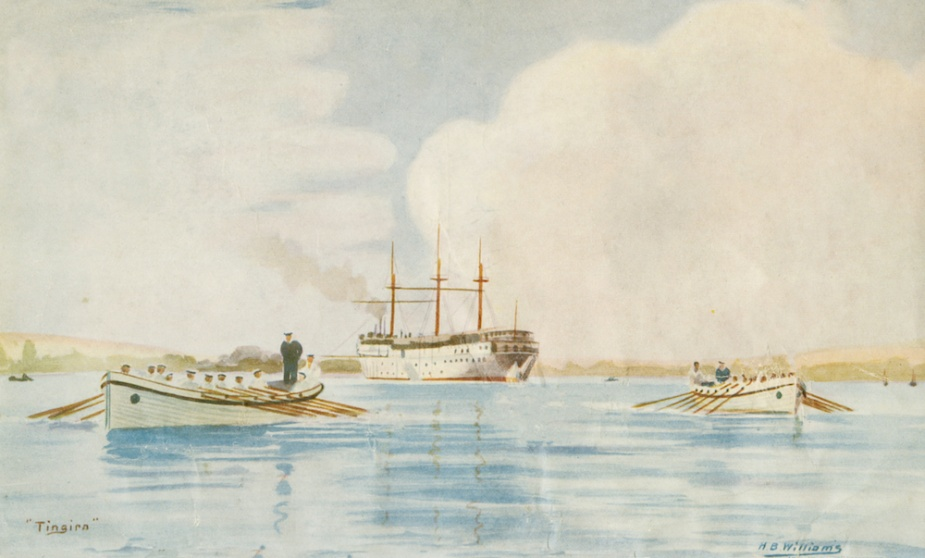 Tingira moored in Rose Bay, her permanent home as a boy's training ship.