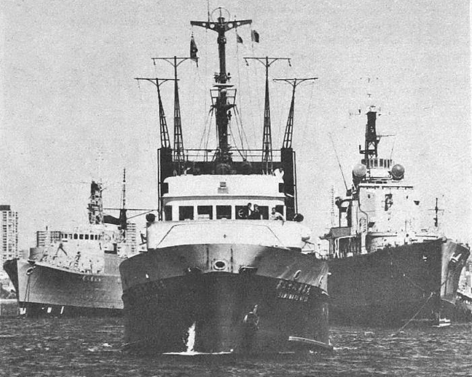 On 10 April 1972 HMAS Quiberon and HMAS Tobruk were taken in tow by the ocean-going tug Sumi Maru No.38, for their final voyage to the breakers yard at Moji, Japan