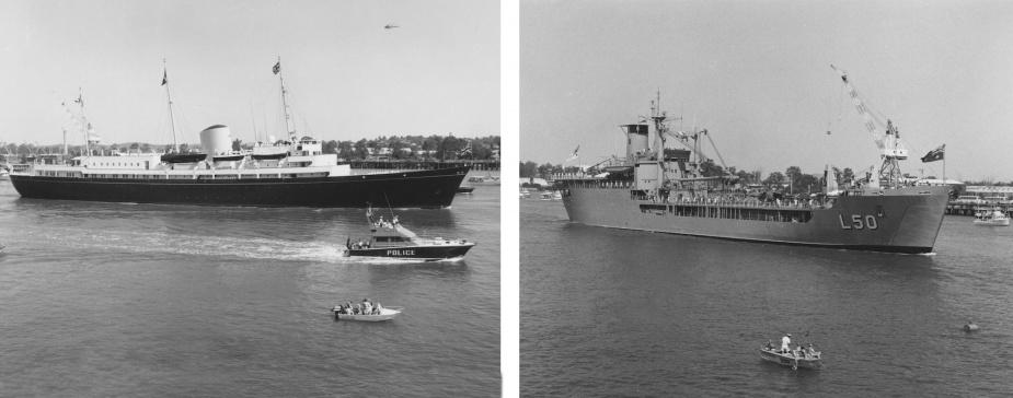 Tobruk escorting HMY Brittannia up the Brisbane River to participate in Commonwealth Games Festivities, Brisbane, QLD.