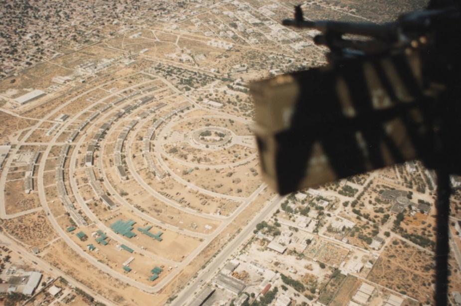 Tobruk's Sea King helicopter flying over Mogadishu in 1993.