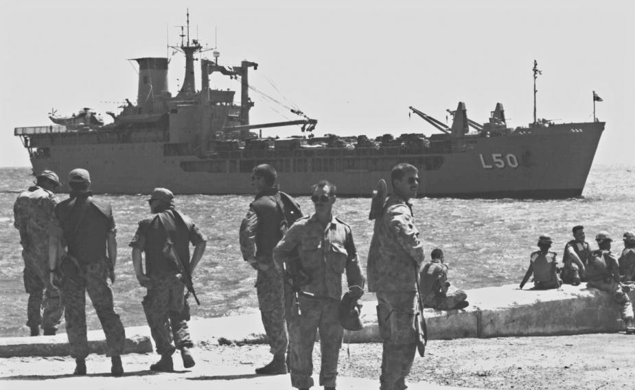 Tobruk entering Mogadishu Port prior to unloading. 20 January 1993.