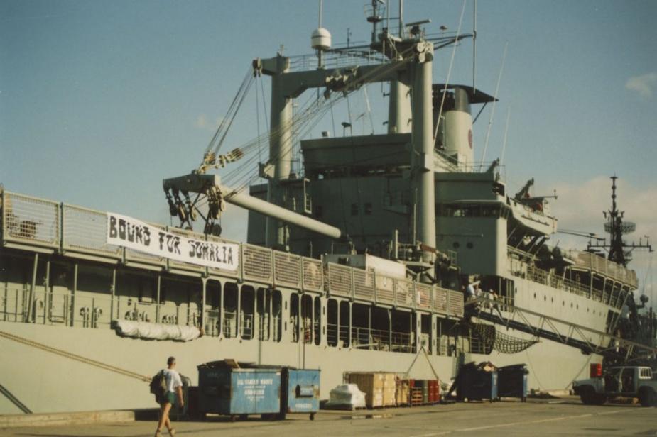 """""""Bound for Somalia"""" Tobruk alongside Fleet Base East preparing to depart for Somalia."""