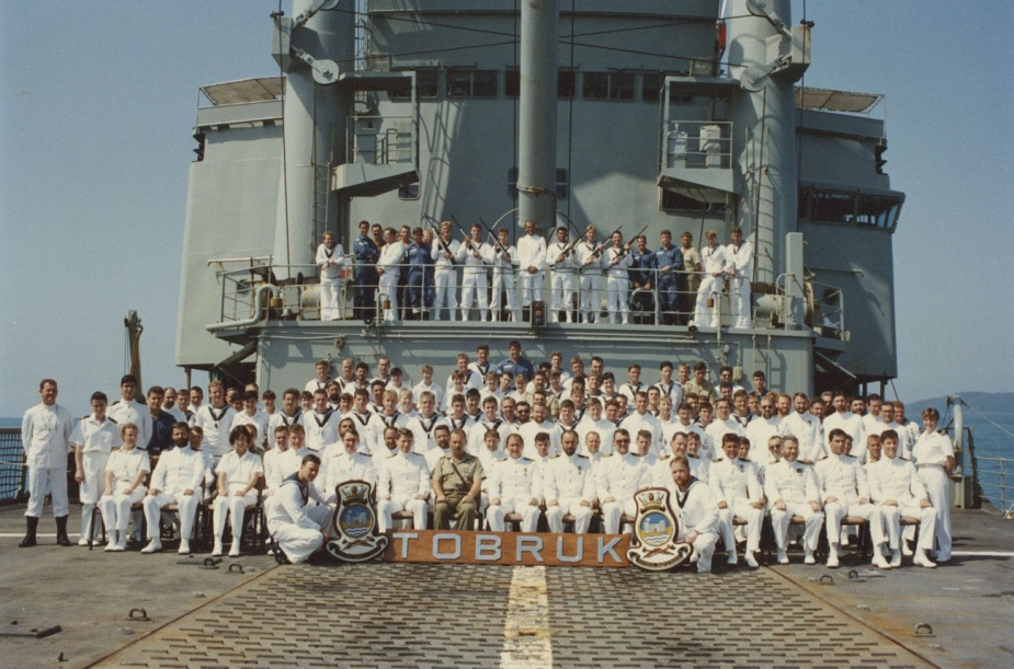 Commander GD Kennedy, RAN with his ship's company 1992.