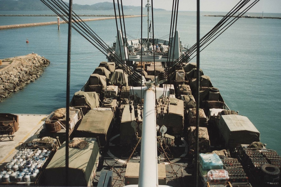 Tobruk fully loaded prior to sailing from Townsville, December 1992.