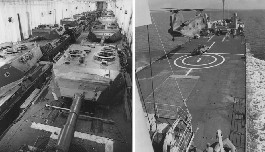 Examples of Tobruk's tri-service support role. Left: Army Leopard AS1 Main Battle Tanks on Tobruk's tank deck. Right: A RAAF Chinook C-47A preparing to lift an Army Land Rover from Tobruk's forward flight deck.