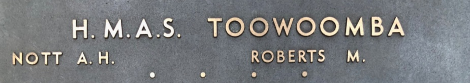Two of Toowoomba's ship's company are commemorated on the Roll of Honour at the Australian War Memorial, Canberra.