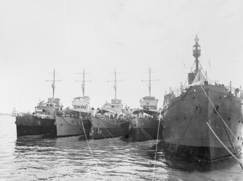 L-R: HMA Ships Toowoomba, Lismore, Burnie and Maryborough nested at Ceylon, Colombo in November 1944.