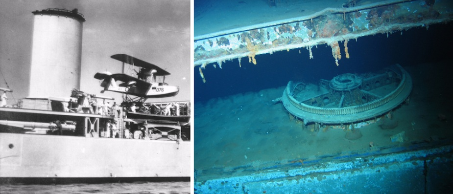 Left: Sydney's starboard Mk VII quadruple torpedo tubes in situ beneath the 4-inch gun deck. Right: The torpedo mount separated from the ship when it sank leaving the 'ring' gear on which it once sat visible on the main wreck.