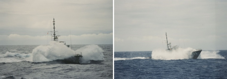 HMAS Townsville (II) in rough weather.