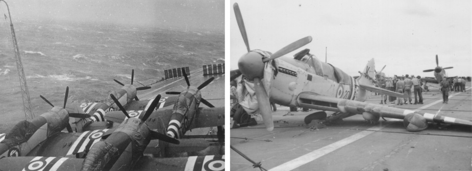 Left: Sydney in the grip of Typhoon Ruth. Right: Damaged aircraft on Sydney's flight deck