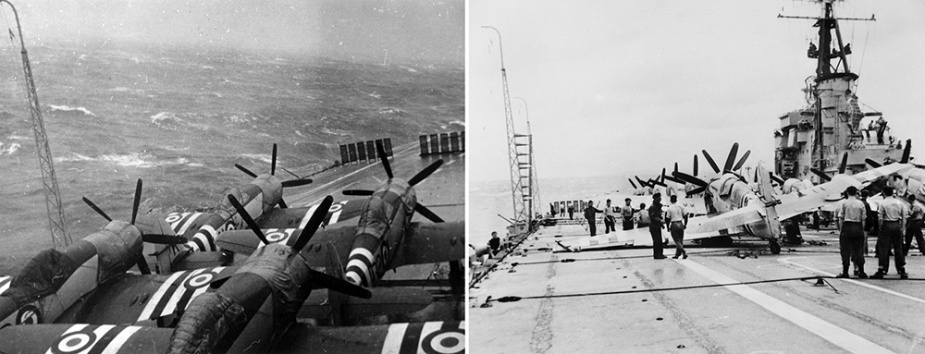 Left: Sydney negotiates Typhoon Ruth with her aircraft lashed to the deck.  Right: The aftermath of Typhoon Ruth on HMAS Sydney.