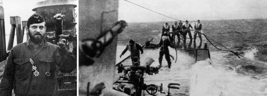 Left: A crewman on the forward casing of U-196 c. 1944. Right: U-196 refuelling at sea, possibly during her voyage to South-East Asia