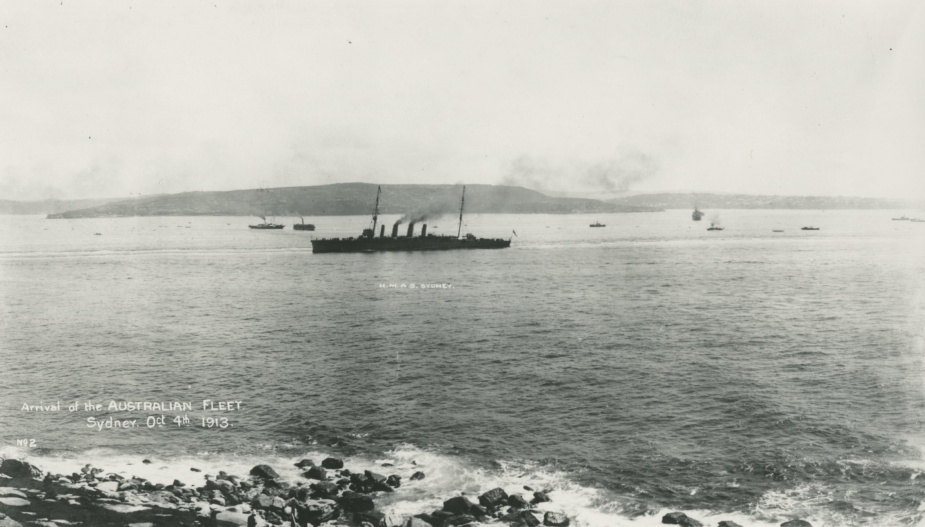 HMAS Sydney entering Sydney Harbour for the first time as part of the Australian Fleet Unit, 4 October 1913.