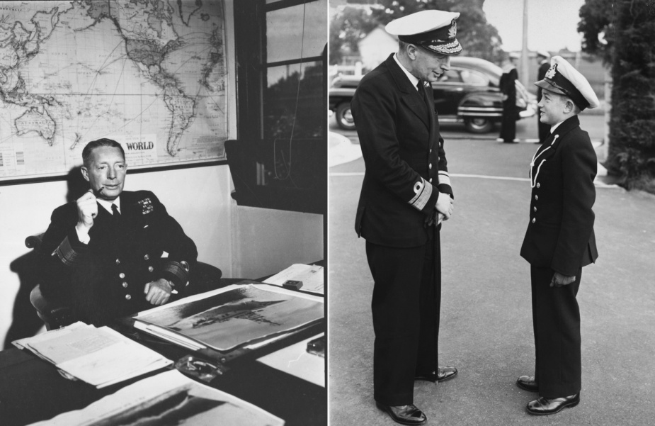 Left: Rear Admiral Collins was appointed First Naval Member of the Australian Commonwealth Naval Board and Chief of the Naval Staff, on 24 February 1948. Right: Rear Admiral Collins with Cadet Midshipman Andrewartha, during a visit to the RAN College, circa 1947.