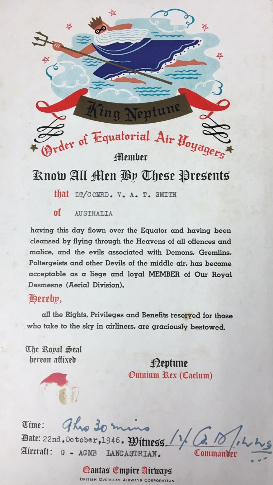 Civilian airlines provided a different angle on certificates for travellers crossing the equator.