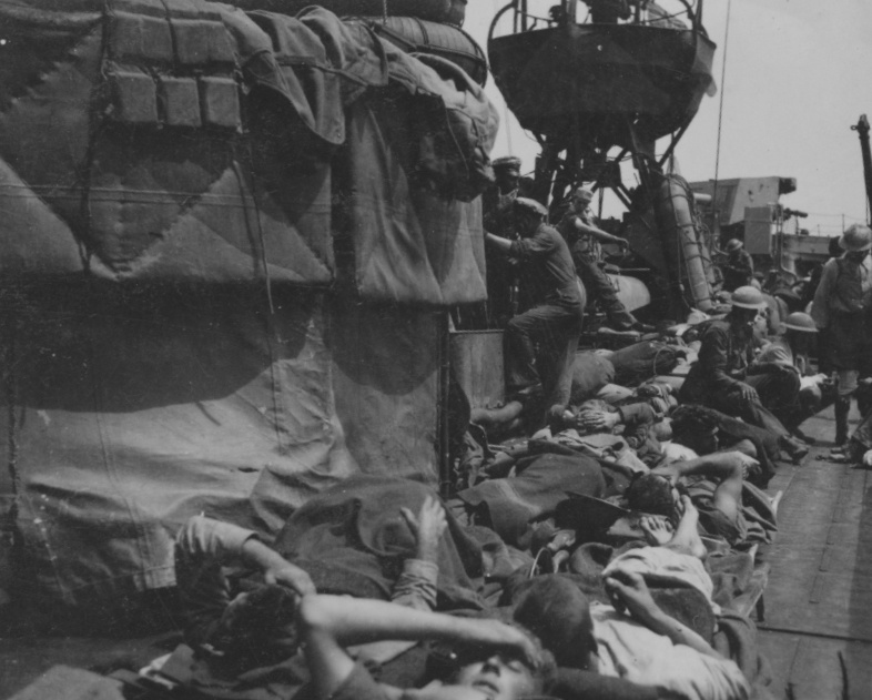 Some of the 180 wounded that were evacuated from Tobruk by HMAS Vampire in May 1941.