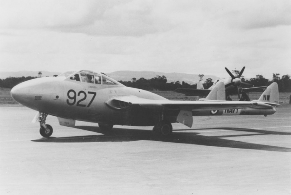 In 1954 the Squadron took delivery of the RAN's first jet aircraft; a de Havilland Sea Vampire.