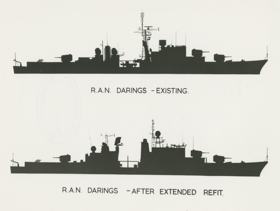 The silhouette of the RAN Daring class was altered noticeably following their extended refit
