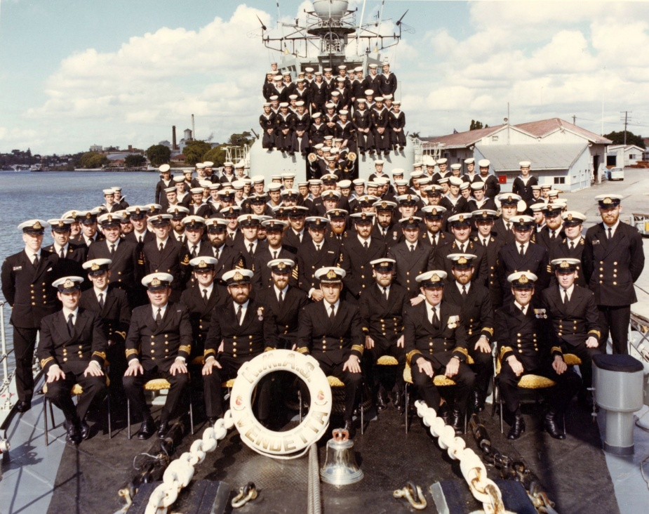 Vendetta's decommissioning crew photographed during her final visit to Brisbane, 25 June 1979