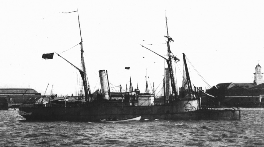 HMVS Victoria with one of her boats alongside. Note the low foc'sle.