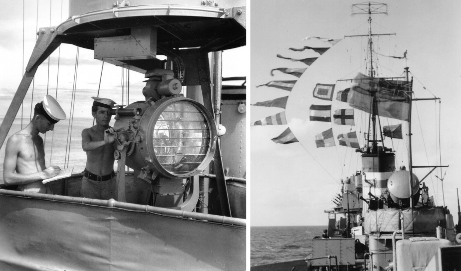 Left: Signalman operating a Pattern 170A signalling projector in an RAN corvette during WWII. Right: HMAS Nepal fills the sky with bunting while making a signal by flaghoist