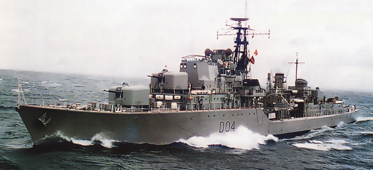 Voyager at sea in a moderate swell. Note the classic 'destroyer lines' of the Daring class that were fondly known as the  'last of the true gun ships'.