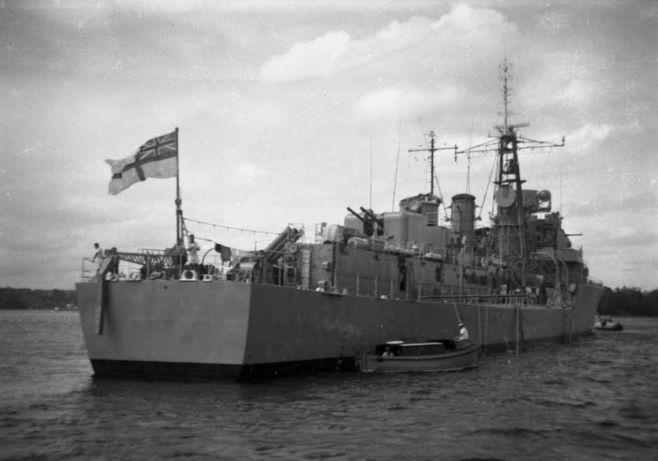 HMAS Voyager moored to a buoy in her home port, Sydney Harbour. (Courtesy John Jeremy)