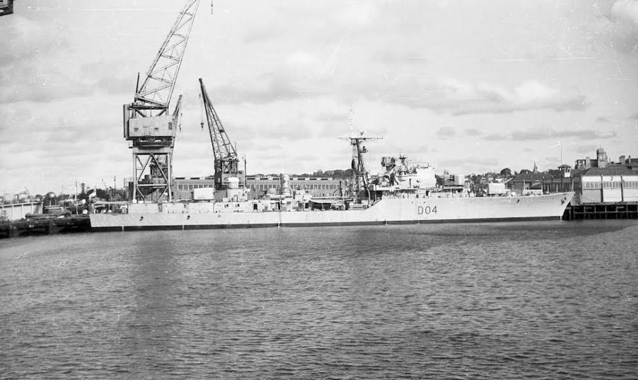 HMAS Voyager undergoing maintenance in Sydney (Courtesy John Jeremy)