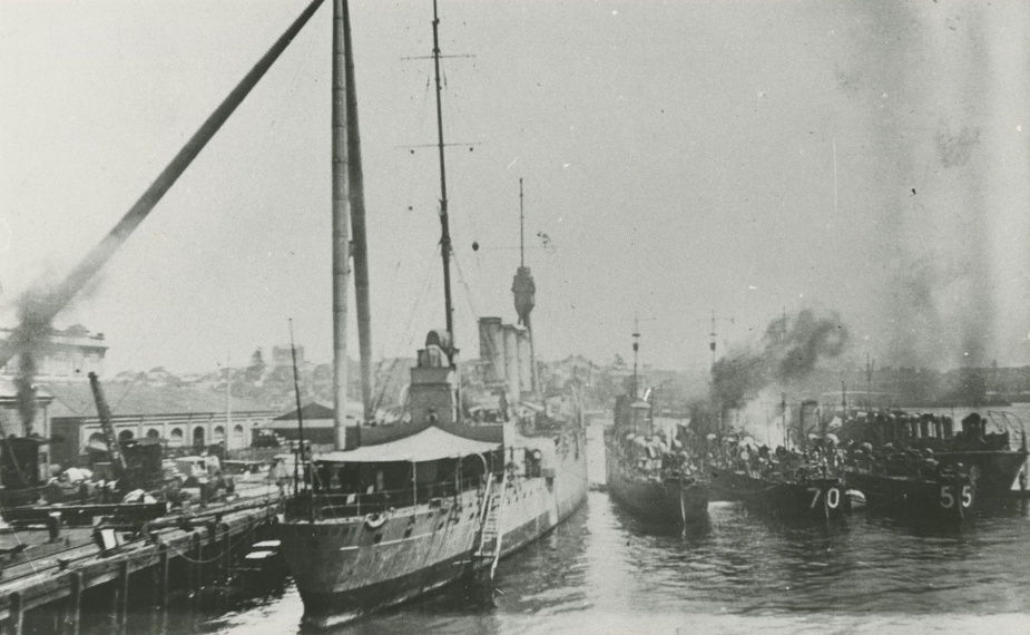 Warrego and her sister destroyers nested at Garden Island following their return to Australia