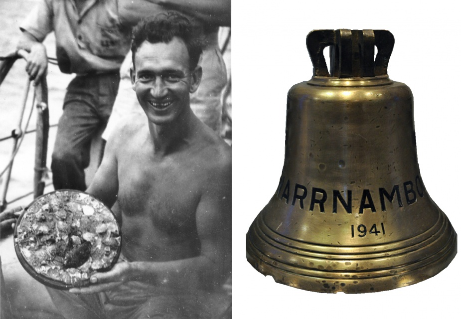 Left: The barnacle encrusted seal of Warrnambool. Right: Warrnambool's ship's bell (believed to currently be located at Flagstaff Hil, Warnambool) both items were retrieved from her wreck by RAN divers in May 1948.