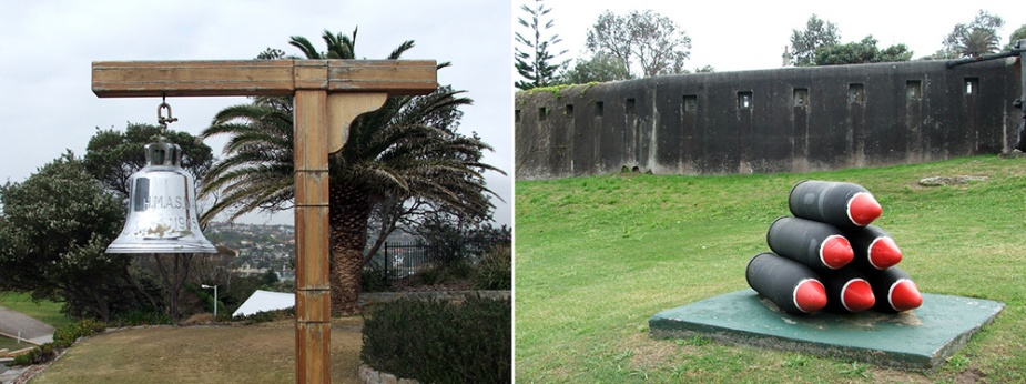 Left: Watson's ship's bell. Right: Old fortifications at the entrance to Watson.