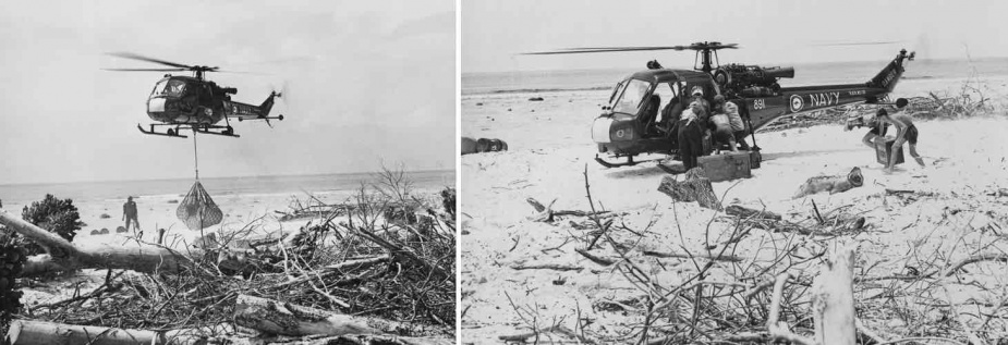 A Westland Scout, operating from the survey vessel HMAS Moresby, resupplying survey teams ashore in a remote part of Western Australia in the mid-1970's.